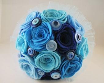 Custom Felt and Button Wedding Bouquet, Alternative Bouquet, Keepsake Bouquet