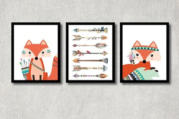 Tribal Fox Set Printable Woodland Nursery Decor Forest