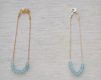 Simple light blue glass bracelet     Dainty elegant blue bracelet