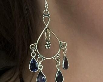 Elegant Sterling Silver and Iolite Chandelier Earrings