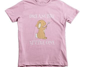 Dream Big Little One Bunny Dandelion Wish, Onesie / Bodysuit/ Shirt- (American Apparel)
