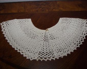 Hand Crocheted Collar w/ button Closure
