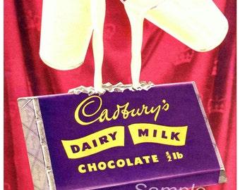 Vintage Cadbury's Dairy Milk Chocolate Advertising Poster Print