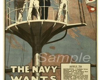 Vintage Navy Wants Men War Poster Print