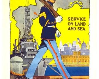 Vintage US Marines War Poster Print