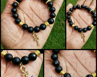 Unisex 10mm Faceted Black Agate Beaded Bracelet w/Gold Ankh and Spacers