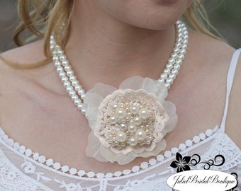 Art Deco Wedding Necklace,Statement Bridal Necklace,Bridal Jewelry Set, Wedding Jewelry Set, Pearl Bridal Jewelry, Vintage, Wedding Necklace