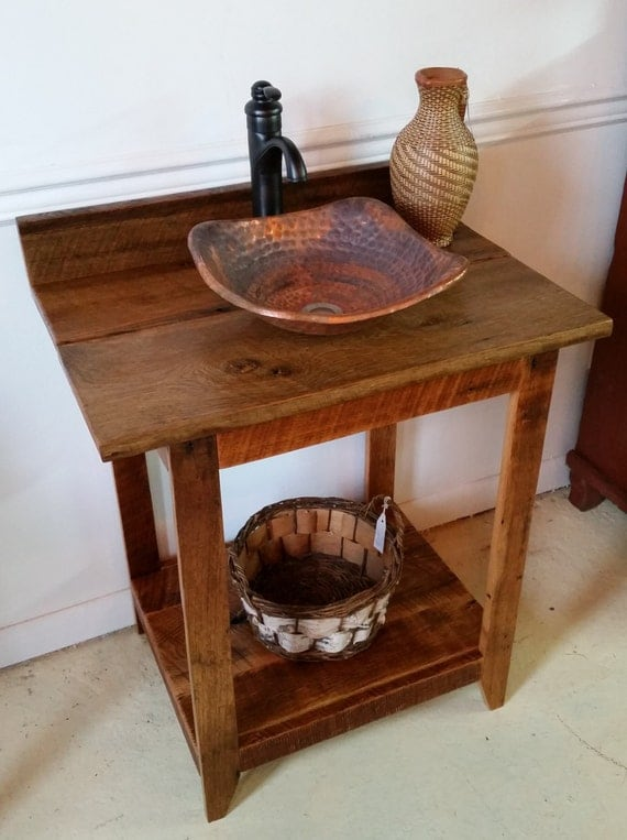 Rustic Barn Wood Vanity With Hammered Copper Vessel Sink And