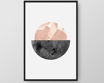 Printable Circle Art, Scandinavian Print, Nordic Art, Minimalist Print, Pink and Black Geometric Print, Nordic Poster, Scandinavian Poster,