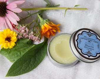 Healing Ointment - Plantain, Echinacea, Comfrey, Calendula, Yarrow & Red Thyme - Natural Neosporin - Hand made
