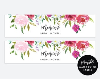 Printable Water Bottle Labels | Personalized Water Bottle Labels, Floral Bridal Shower