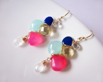 Pink Chalcedony Earrings, Moonstone Dangle Earrings, Colorful Gemstone Earrings, Woven Gemstone Earrings Gold Filled Small Wrapped