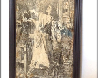 Aged reproduction illustration of Morgan le Fay in frame.