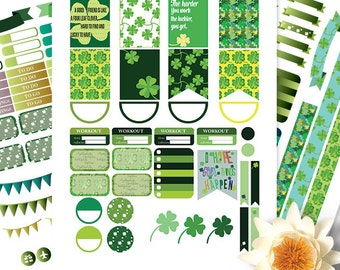 Sale 50% Printable Four leaf Clover Stickers for use with Erin Condren LifePlanner, Filofax, Plum Paper, Scrapbooking
