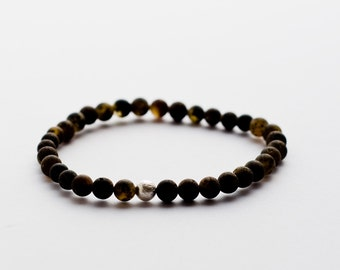 Handmade Baltic Amber Bracelet. Raw Amber Jewelry. Earthy Color.