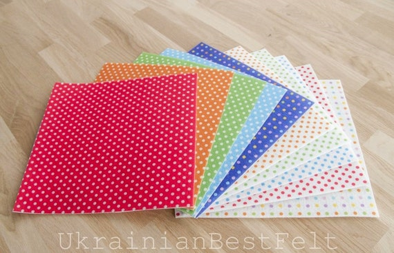 10 printed polka dots felt sheets 25cm x 25cm 98x for Polka dot felt fabric