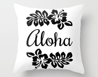 Aloha Pillow Cover, Island Vibe, Tropical Pillow, Black & White Decor, Hibiscus Flower Throw Pillow, Hawaiian Accent Pillow, Tropical Leaf