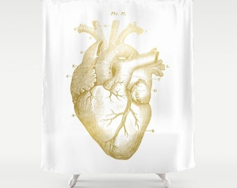 Heart shower curtain Etsy