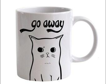 Go Away Cat Coffee Mug