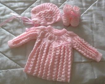 Handmade baby jersey, Cap, booties set