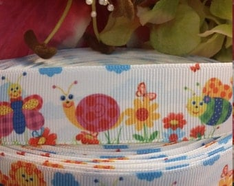 3 yards,  1' grosgrain ribbon bumble bee,  snail, and flowers design