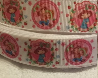 3 yards, 7/8' grosgrain ribbon strawberry short cake design