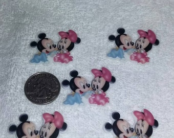 Set of 5 inspired by baby Mickey and Minnie flat back resins