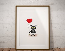 Kingdom Hearts, Heartless, Game, Stippling Black And White Ink Drawing, Giclee Print