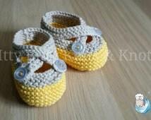 Double Strap Booties, Yellow & Cream