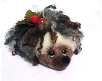 Felted Hedgehog. Needle Felted Toy.