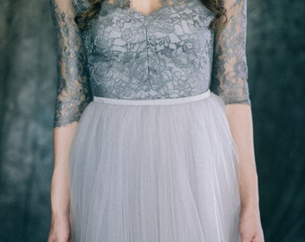 """Wedding dress """"Space"""" Light grey and dark bluish grey colored bridal gown lace tulle 3\4 sleeve V-neck non traditional bohemian alternative"""