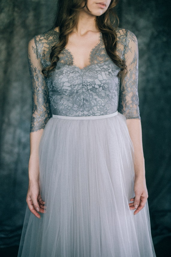 Gray wedding dress boho wedding dress non traditional for Gray dresses for a wedding