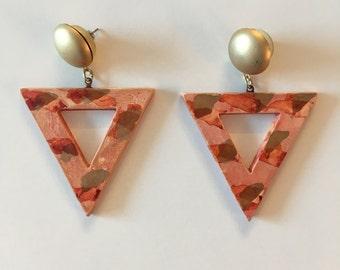 Vintage- Painted Geometric Earrings