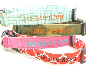 Add a Personalized Monogram Phone Number ONLY to Any Dog Collar in Our Store - Choose Color Embroidery - Collar MUST be Purchased Separately