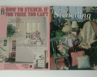 Two Stenciling Craft Instruction Books Stencils, 1994 2006