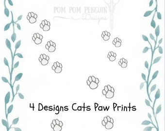 Collection of Cat Paw Prints embroidery design in 7 formats instant download for 4x4 hoop