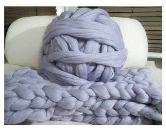 100% non-mulesed Chunky Merino wool yarn Big chunky yarn massive yarn Extreme arm knitting Giant Chunky knit blankets throws grey