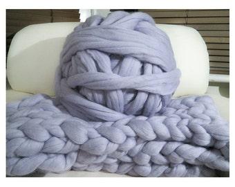 100% non-mulesed Chunky Merino wool yarn chunky yarn 0.5kg 1kg 2kg 2.2lbs massive yarn Extreme arm knitting Giant Chunky knit blanket grey