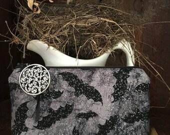 Gothic Vampire Bat cosmetic bag, clutch