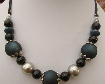 Blue, silver and black chunky beaded necklace