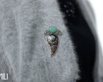 The Blooming Flower Brooch with Agate Stone done with Cloisonné Enamel in Silver