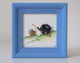 Nicer, birthday, unique, handmade, gift for everyone, decoration, 3d stone painting painted with oil paint: Elephant & snail