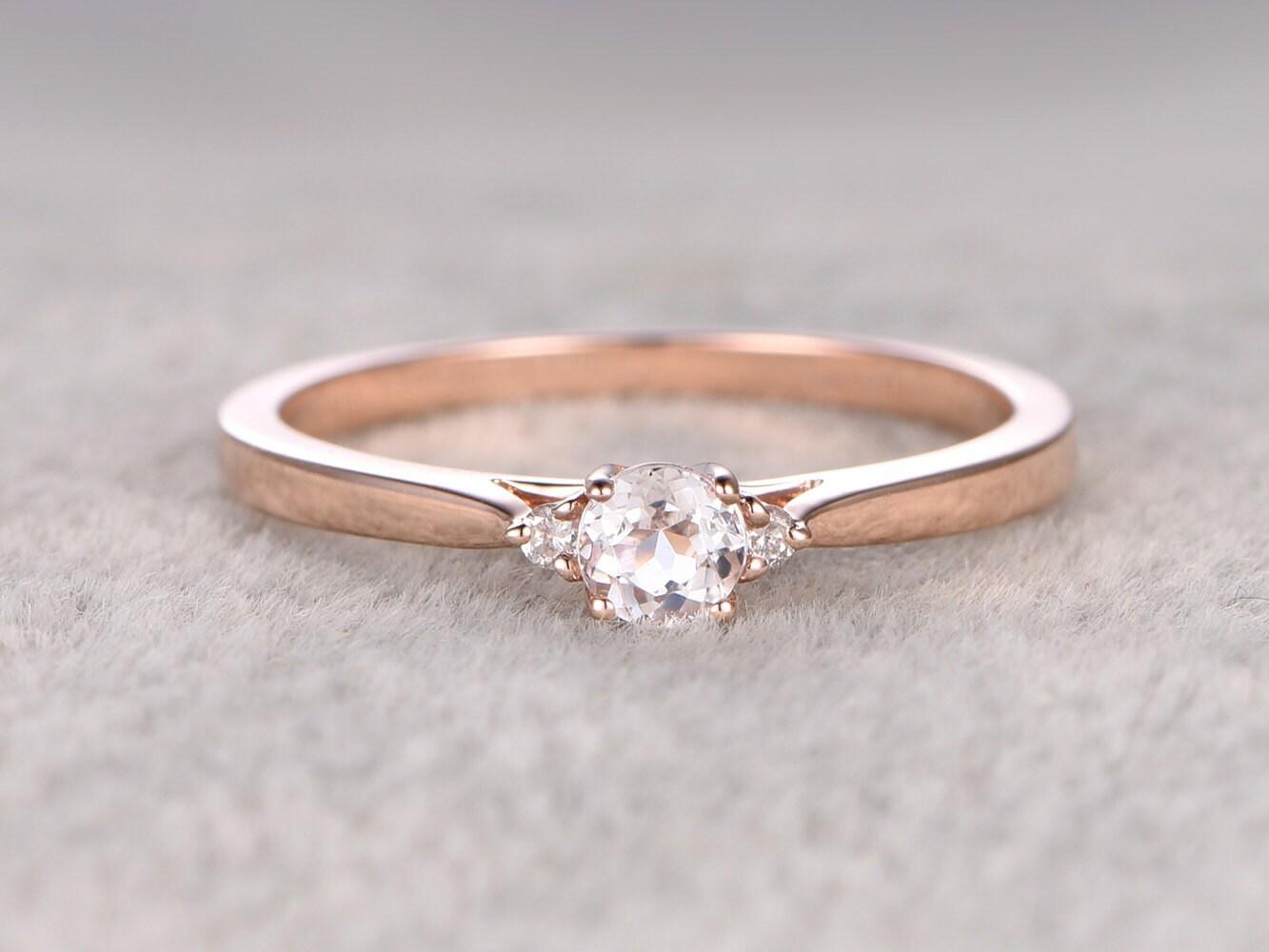 3 stones morganite engagement ring rose golddiamond wedding. Black Bedroom Furniture Sets. Home Design Ideas