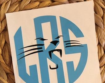 Panthers Monogrammed Vinyl Decal