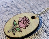 Painted Wooden Engraved Rose with Necklace- Frame Craft Supply Jewelry Chain Pendant