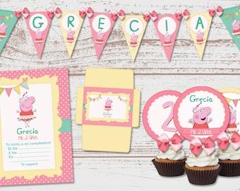 "Luxury printable Kit ""Peppa Pig Ballerina"" Birthday Parties babe. Chanchita, Pig. Super full. Custom."