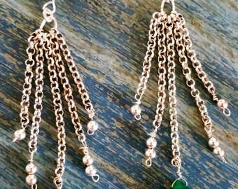 green onyx dress earrings