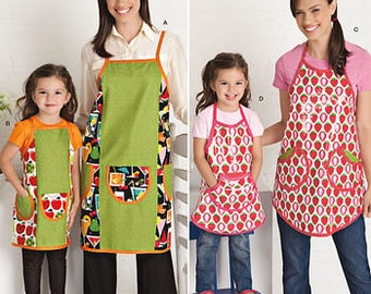 Sewing Pattern for  Aprons, Matching Aprons for Misses & Child's, Simplicity 1707, Pocket Aprons