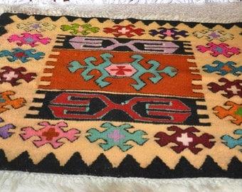 Romanian Handmade Rug - Black, Red, Yellow, Mauve