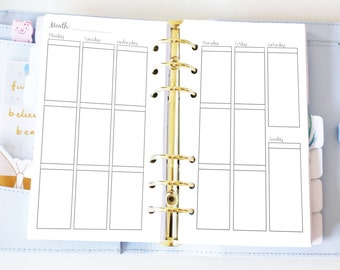 Personal Weekly Insert - Planner Printable Inserts - EC Style Vertical Weekly Inserts WO2P - Filofax Personal or Kikki K Medium - Undated